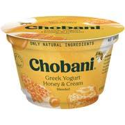 Chobani Honey and Cream Blended Greek Yogurt, 5.3 Ounce -- 12 per case.