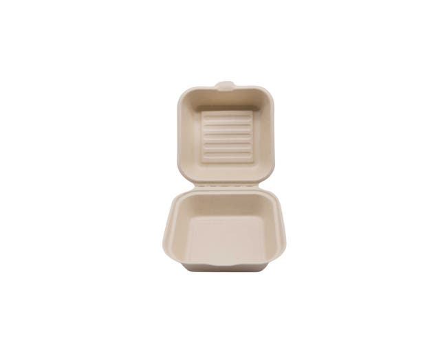 Total Papers Wheat Straw Single Compartment Hinged Lid Burger Take Out Container, 6 inch -- 500 per case