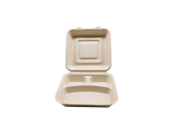Total Papers Wheat Straw Three Compartment Hinged Lid Container, 10 inch -- 200 per case