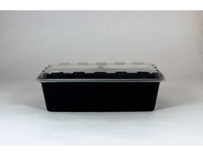 Cubeware Rectangular Black Reusable Plastic Microwavable Food Container with Clear Lid Set, 38 Ounce -- 150 set per case.