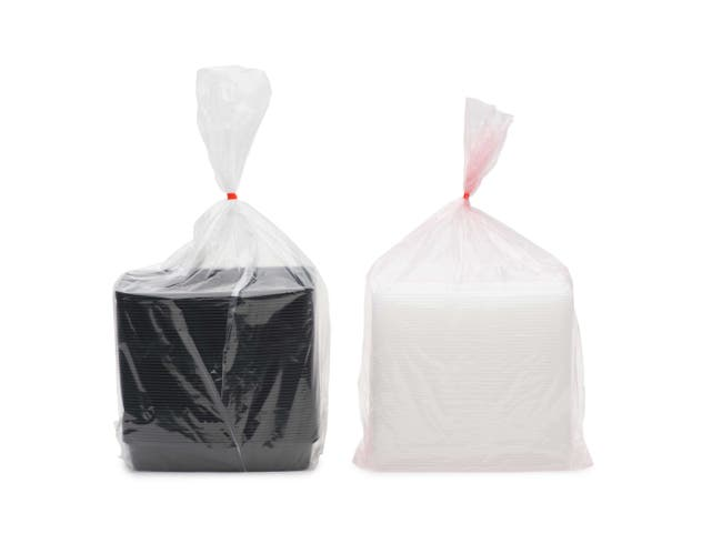 Cubeware Black Plastic Container with Clear Lid, 48 Ounce -- 150 set per case.
