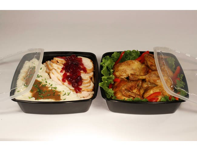 Cube Square Black Reusable Plastic Food Containers with Clear Lid Set, 64 Ounce -- 100 set per case.