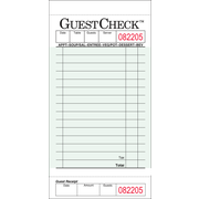 Value Essentials Green 1 Part 15 Lines Carbon Guest Check, 3.50 x 6.75 inch -- 2500 per case.