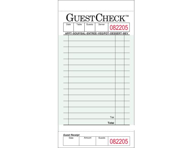 Value Essentials Green 1 Part 15 Lines Carbon Guest Check, 3.50 x 6.75 inch -- 2500 per case.