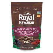 Royal Hawaiian Orchards Blackberry Goji Dark Chocolate Covered Macadamia Nuts, 4.5 Ounce -- 6 per case