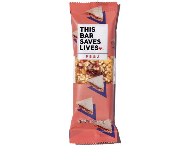 This Bar Saves Lives Peanut Butter and Jelly Bar, 1.4 Ounce -- 72 per case.