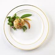 Glimmerware White and Gold Buffet Plate, 9 inch, 10 count per pack -- 12 per case.
