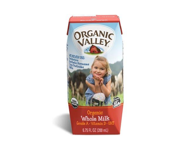 Organic Valley 6.75 Ounce Whole Milk Cartons, 6.75 Fluid Ounce -- 12 per case