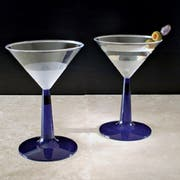 Resposables 6 Ounce 2 Piece Martini Glass with Blue Base, 12 count per pack -- 8 per case.