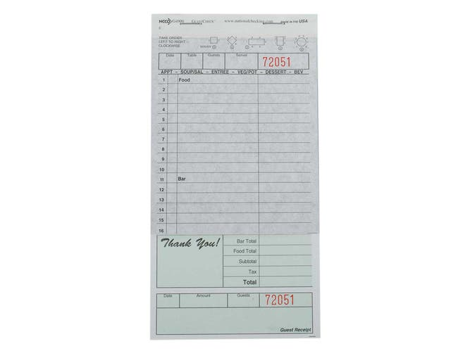 National Checking Company Carbon Backed Guest Check Board - 2 Part Green, 16 Line, 4.20 x 8.25 inch -- 50 books per case.