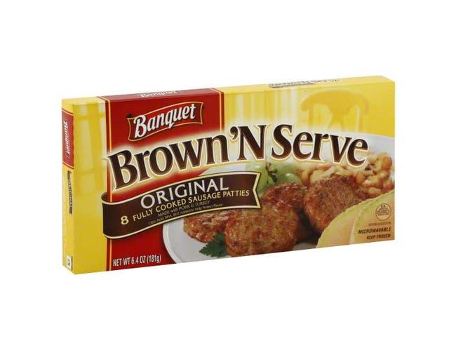Banquet Brown and Serve Original Sausage Patty, 6.4 Ounce -- 12 per case.
