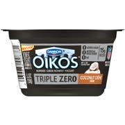 Oikos Triple Zero Coconut Creme Blended Greek Nonfat Yogurt, 5.3 Ounce -- 12 per case.