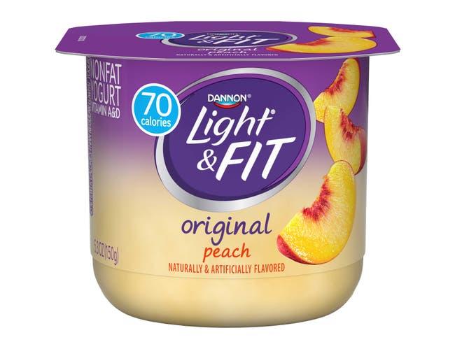 Light and Fit Peach Yogurt, 5.3 Ounce -- 12 per case.