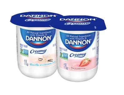 Dannon Creamy Strawberry and Vanilla Twin Pack Yogurt, 4 Ounce -- 48 per case.