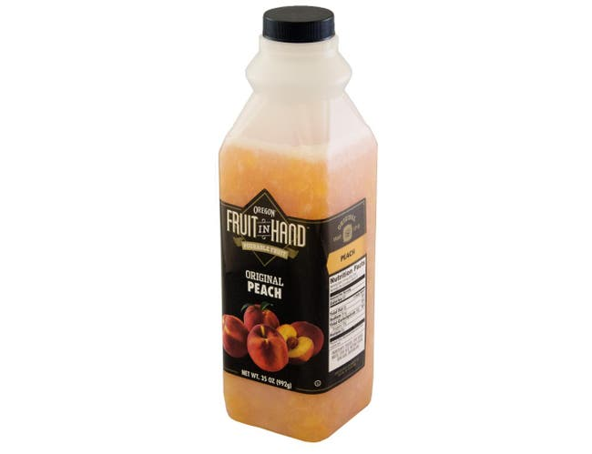 Fruit In Hand Peach Pourable Fruit Puree, 35 Ounce -- 6 per case.