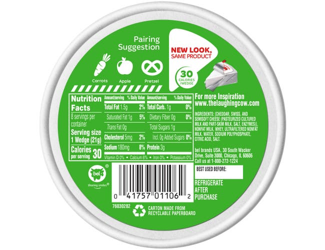 The Laughing Cow Creamy Light Swiss Original Cheese Wedges, 6 Ounce -- 12 per case.