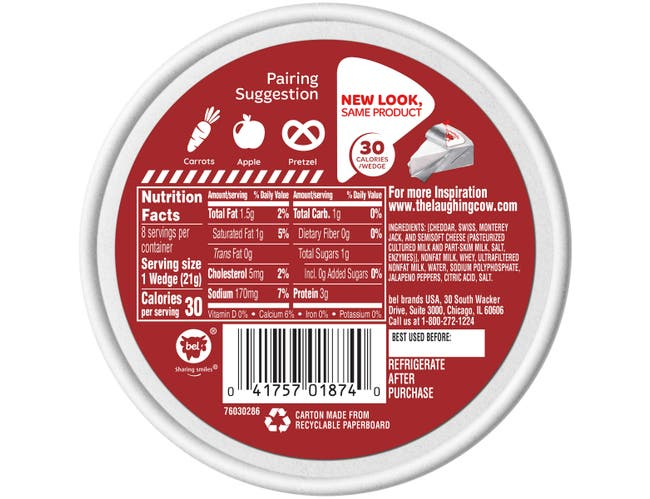 Laughing Cow Creamy Spicy Pepper Spreadable Cheese Wedge, 6 Ounce -- 12 per case.