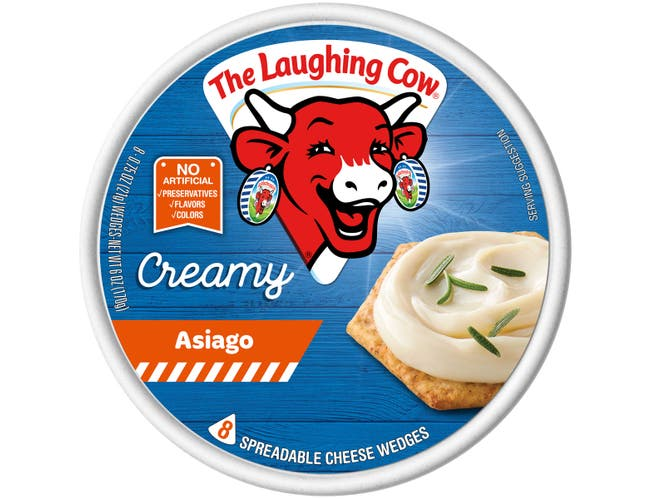 Laughing Cow Creamy Asiago Cheese Wedge, 6 Ounce -- 12 per case.