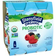 Stonyfield Farm Organic Wild Berry Yogurt Smoothie, 6 Ounce - 4 per pack -- 6 packs per case.