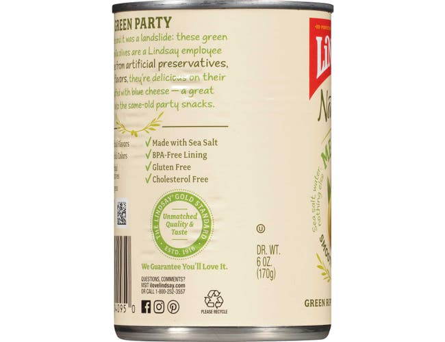 Bell Carter Foods Lindsay Medium Naturals Green Ripe Pitted Olives, 6 Ounce -- 12 per case.