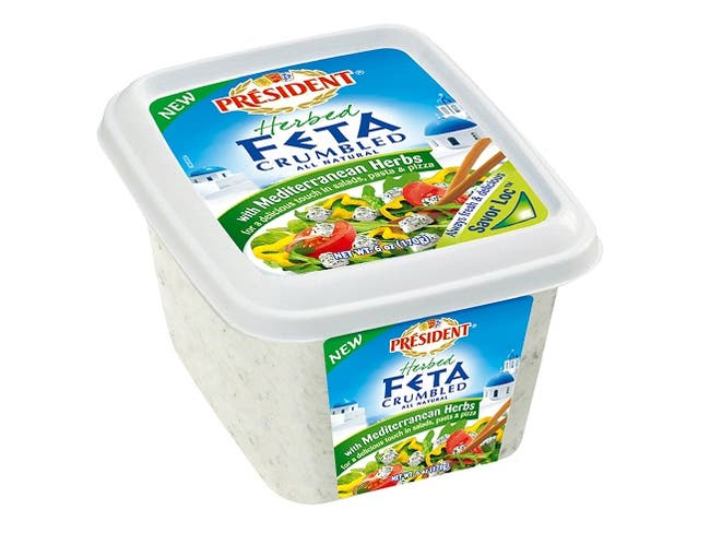 President Crumbled Feta Cheese with Mediterranean Herbs, 6 Ounce -- 8 per case.