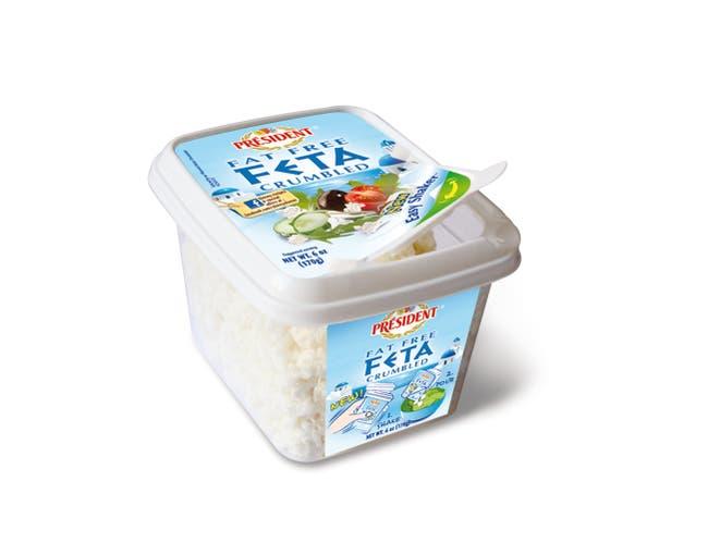 President Plain Fat Free Feta Cheese Crumble, 6 Ounce -- 8 per case.