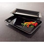 Party Tray Rectangular Black Tray, 10 x 14 inch -- 25 per case.