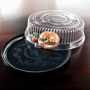 Deli Mate Round Black Catering Tray with Dome Lid Combo Pak, 12 inch -- 25 per case.
