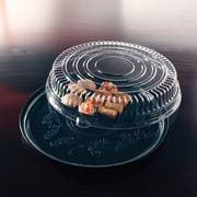 Deli Mate Round Black Catering Tray with Dome Lid Combo Pak, 16 inch -- 25 per case.