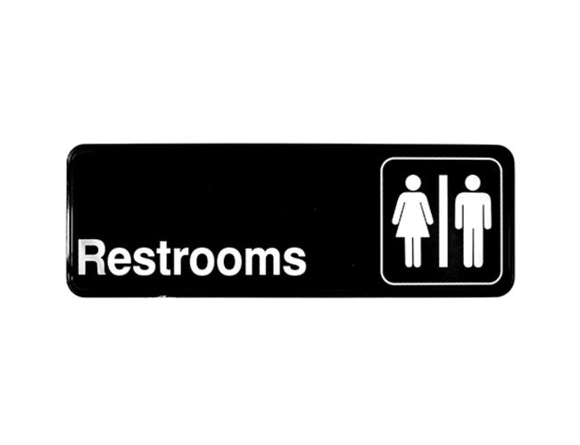 Tablecraft Restrooms Sign, 3 x 9 inch -- 1 each.