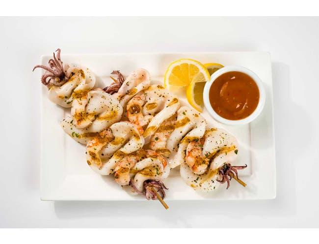 Panapesca Shrimp and Calamari Skewers, 10.6 Ounce -- 12 per case.