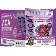 Sambazon Organic Pure Unsweetened Acai Smoothie Pack, 4 count per pack -- 10 per case