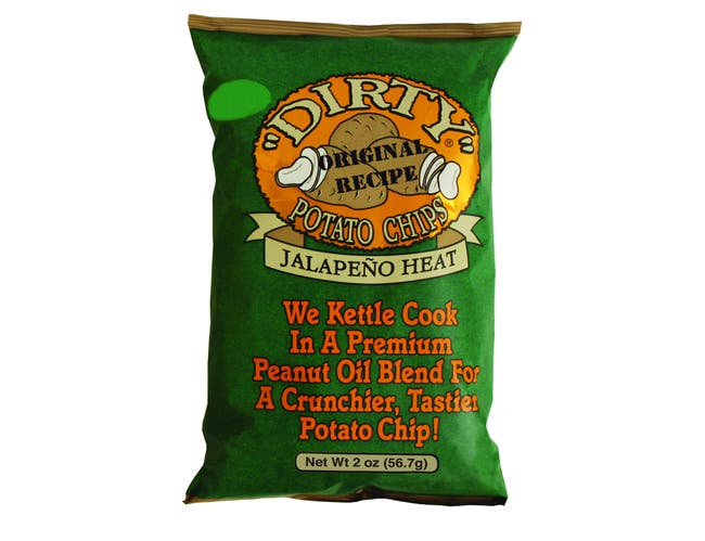 Dirty Cracked Jalapeno Heat Potato Chips, 2 Ounce -- 25 per case.