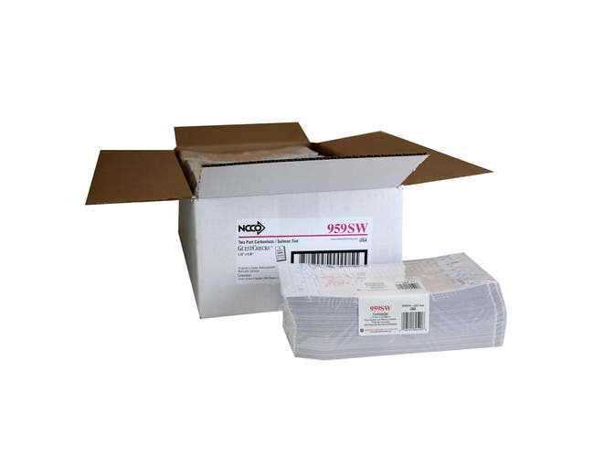 National Checking Company Carbonless Guest Check Board - 2 Part Salmon, 17 Line, 5.25 x 9 inch -- 2000 per case.