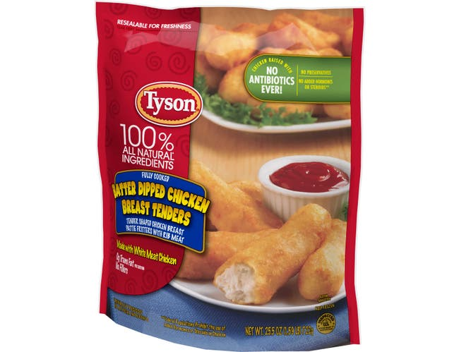 Tyson Fully Cooked Batter Dipped Chicken Breast Tender, 1.594 Pound -- 4 per case.