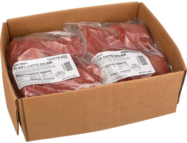 Tyson Wilson Foodservice Sliced Meat Cotto Salami, 5 Pound -- 2 bags per case.