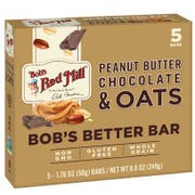 Bobs Red Mill Peanut Butter Chocolate and Oats Bobs Bar, 1.48 Ounce - 5 count per pack -- 6 packs per case