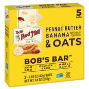 Bobs Red Mill Peanut Butter Banana and Oats Bobs Bar, 1.48 Ounce - 5 count per pack -- 6 packs per case