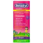 Childrens Benadryl Allergy Plus Congestion Grape Flavored Liquid, 4 Fluid Ounce -- 24 per case