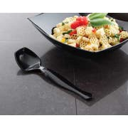 Yoshi Ware Emi Party Tray Black Plastic Serving Spoon -- 144 per case.