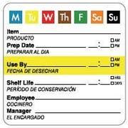 Daymark 7 Day Bilingual Square Label, 2 inch -- 6000 per case