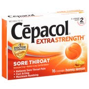 Cepacol Extra Strength Honey Lemon Sore Throat and Cough Lozenges - 16 count per pack -- 24 packs per case