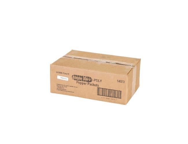 Single Serv Flat Pepper Packets, 0.1 Gram -- 3000 per case.