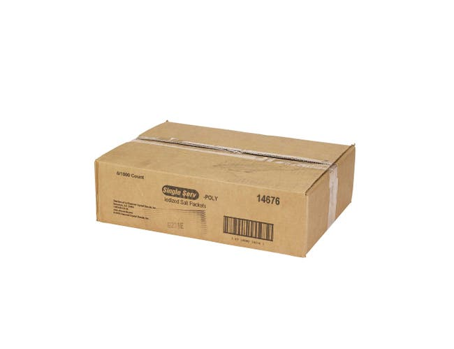 Single Serv Flat Iodized Salt Packet, 0.6 Gram -- 6000 per case.