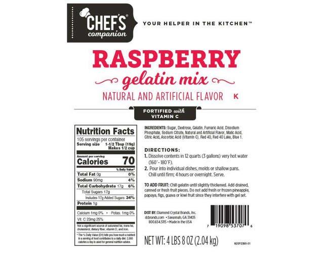 Chefs Companion Red Raspberry Gelatin Mix, 4.5 Pound -- 6 per case.