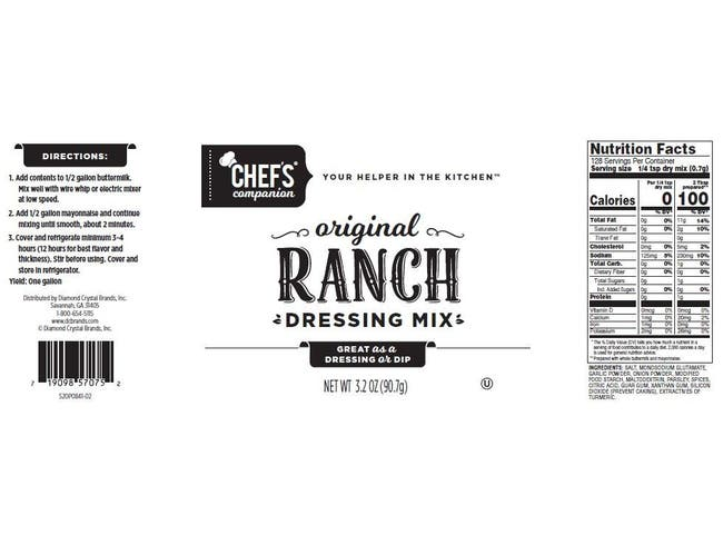 Chefs Companion Ranch Salad Dressing Mix, 3.2 Ounce Pouch -- 18 per case.