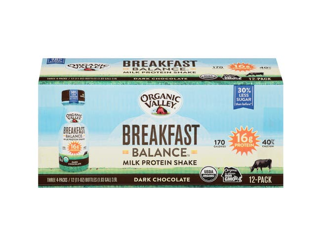 Organic Balance Dark Chocolate High Protein Milk Shake, 11 Fluid Ounce - 4 per pack -- 3 packs per case.