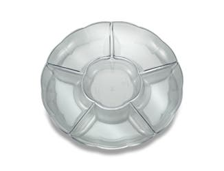 Party Tray 7 Compartment Clear Tray, 18 inch -- 12 per case.