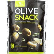 Gaea Pitted Green Olive with Lemon and Oregano Snack Pack, 2.3 Ounce -- 8 per case