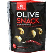 Gaea Pitted Green Olives Marinated with Chili and Black Pepper Snack Pack, 2.3 Ounce -- 8 per case